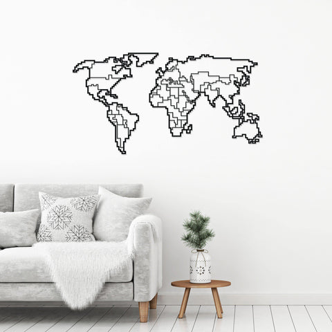 World Map Metal Wall Art-Modern Furniture Deals