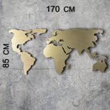 WORLD MAP SILHOUETTE XL - GOLD Wall Art-Metal Wall Art-[sale]-[design]-[modern]-Modern Furniture Deals