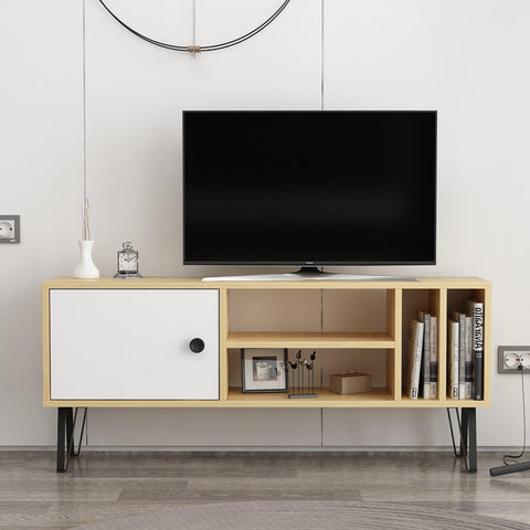 Zinga Large Tv Unit Oak - White-FURNITURE>TV STANDS>TV STAND-[sale]-[design]-[modern]-Modern Furniture Deals