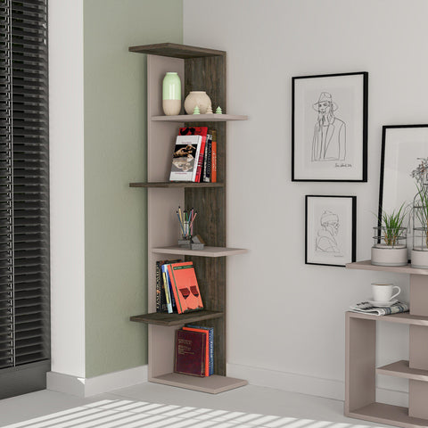 Zulu Corner Bookcase Light Mocha-Dark Coffee-FURNITURE>BOOKCASES-[sale]-[design]-[modern]-Modern Furniture Deals