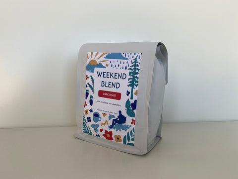 Weekend blend label on White stock Bag.