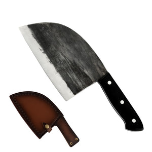 SOWOLL Handmade Forged Butcher Knife with Knife Sheath