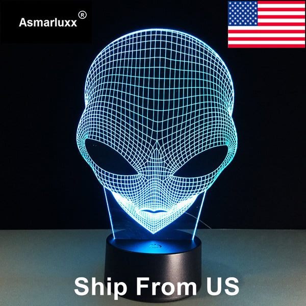 Siosm™ Electronics -  Alien 3D Hologram Illusion Lamp - Acrylic Night Light With Touch Switch