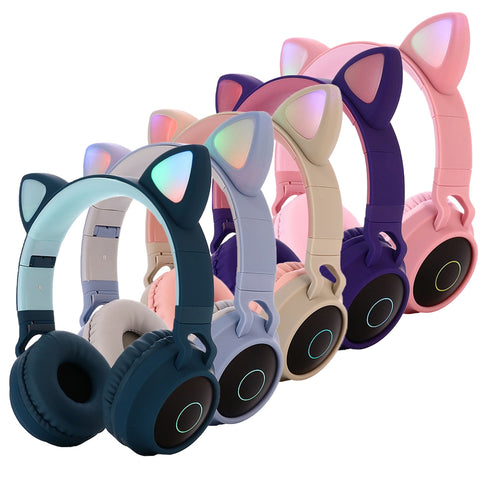 Foldable Cute Cat Ear Over-Ear Wireless 5.0 Bluetooth Headphones with LED Light