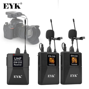 Siosm™ Electronics - EYK EW-C02 30 Channel UHF Wireless Dual Lavalier Lapel Microphone System up to 60m for DSLR / Camera Interview / Video Recording