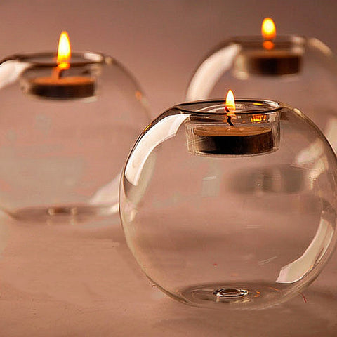 10cm Table Glass Ball Candle Holder