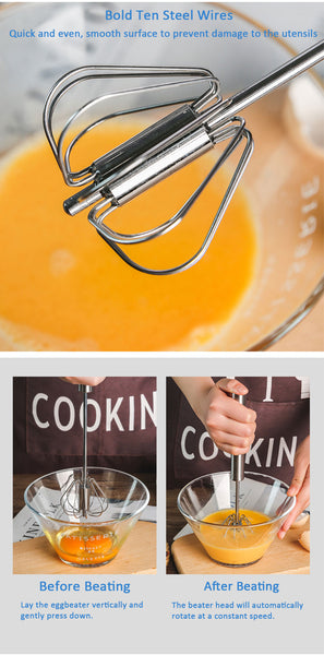Semi-automatic Stainless Steel Egg Whisk