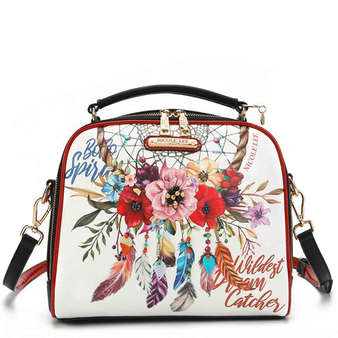 BOHEMIAN WHITE PRINT MESSENGER BAG