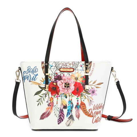 BOHEMIAN WHITE MODERN PRINT SHOPPER BAG