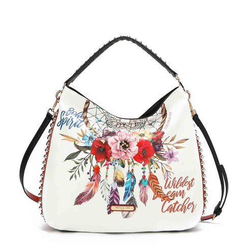 BOHEMIAN WHITE PRINT CONTEMPORARY HOBO BAG