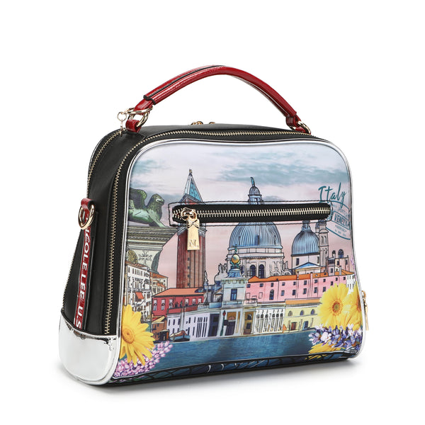 HONEYMOON IN VENEZIA NYLON BEADED PRINT MESSENGER BAG