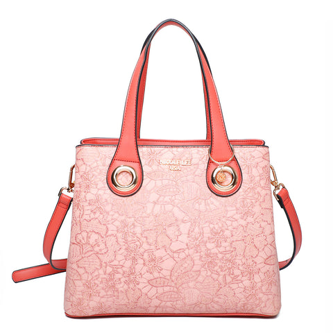 FLORAL TEXTURED MEDIUM SATCHEL BAG