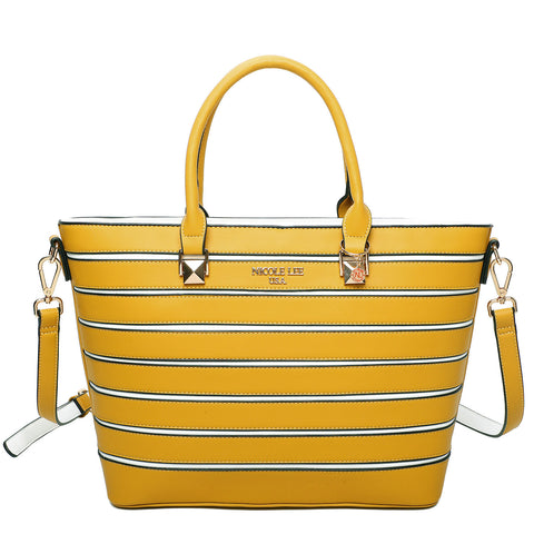 STRIPED SOLID SATCHEL BAG