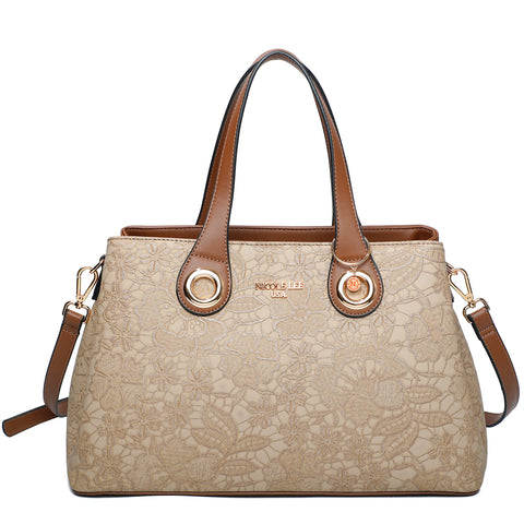 FLORAL TEXTURED SATCHEL BAG