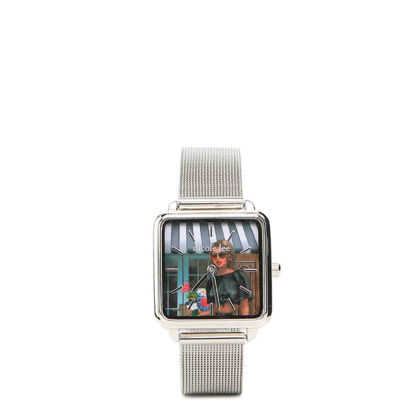 STAINLESS STEEL PRINT SQUARE WATCH