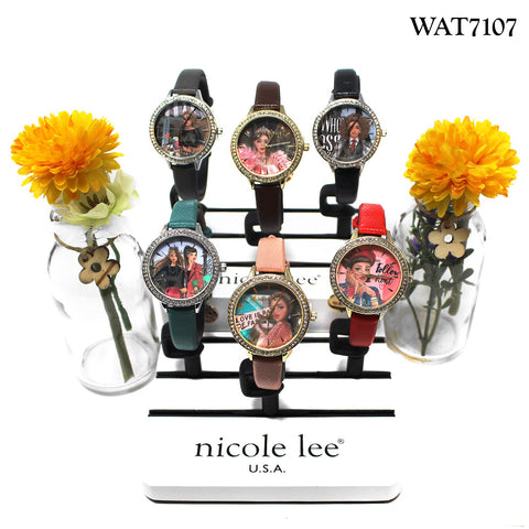 RHINESTONE VEGAN LEATHER THIN STRAP WATCH