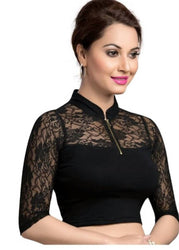a stylish readymade blouse in net sleeves.....