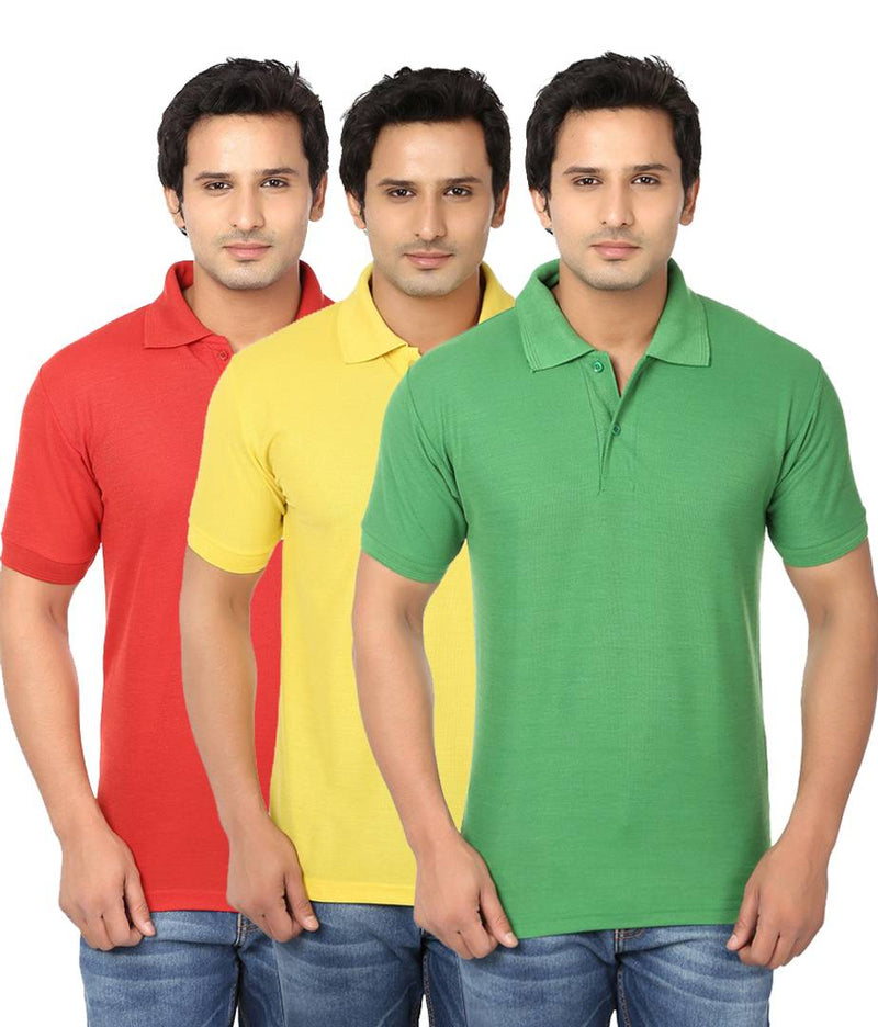 Men Multicoloured Cotton Blend Half Sleeves Polos T-Shirt (Pack of 3)