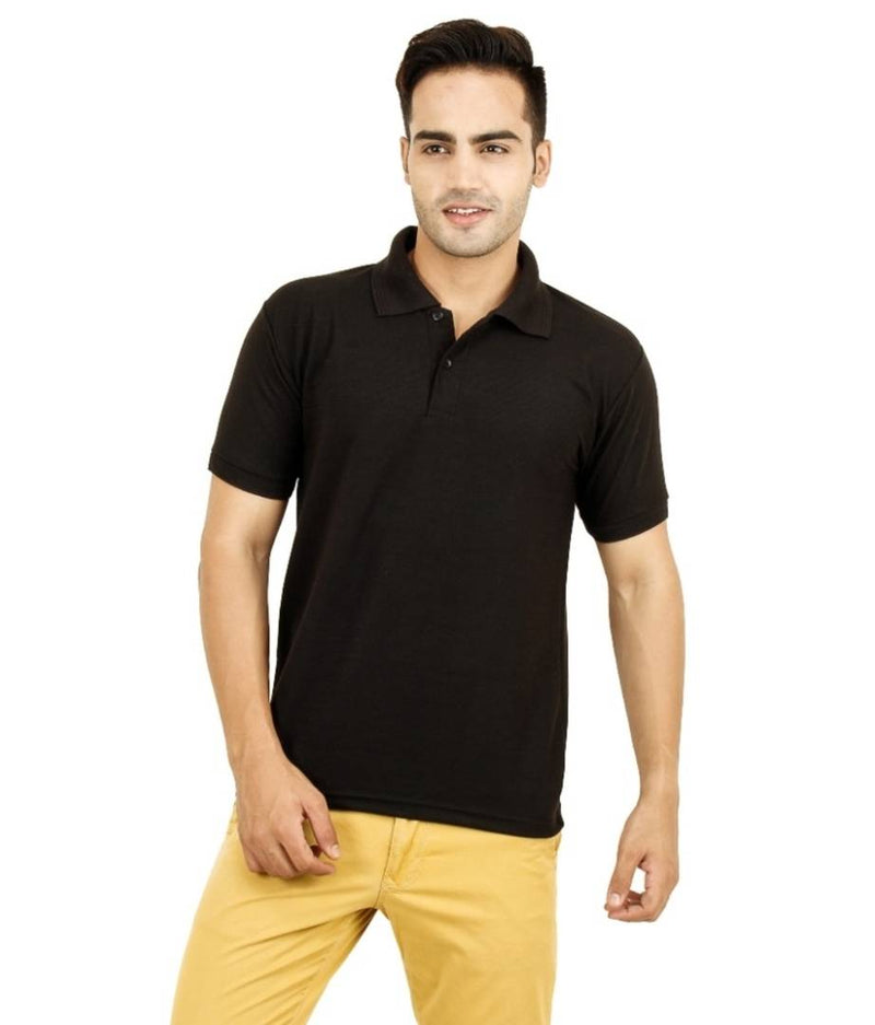 Men Black Cotton Blend Half Sleeves Polos T-Shirt