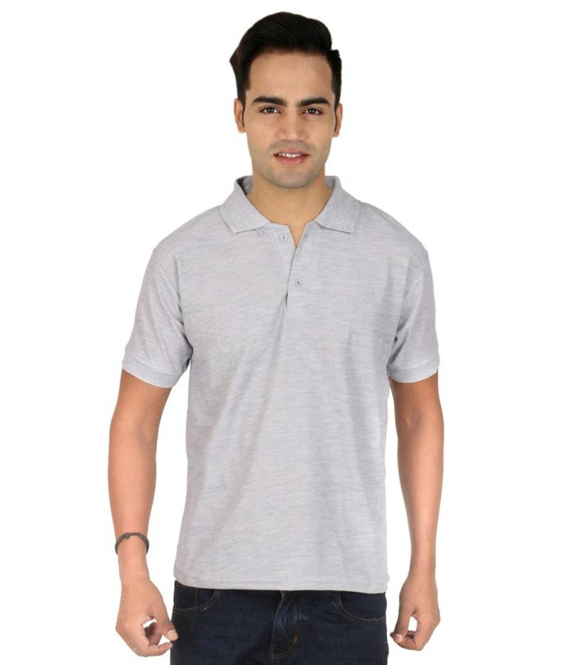 Men Grey Cotton Blend Half Sleeves Polos T-Shirt