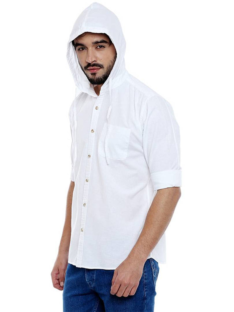 Men's Solid Hoodie Casual White Shirt