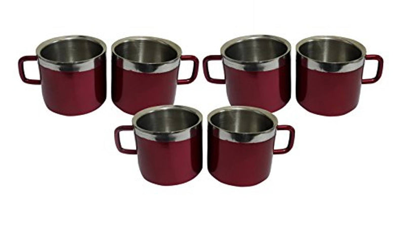 Stainless Steel Cup Set, 120ml, Set of 6, Red