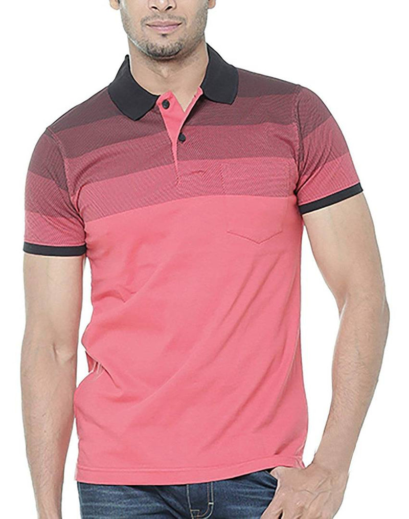 Men Red Cotton Printed Polos T-Shirts