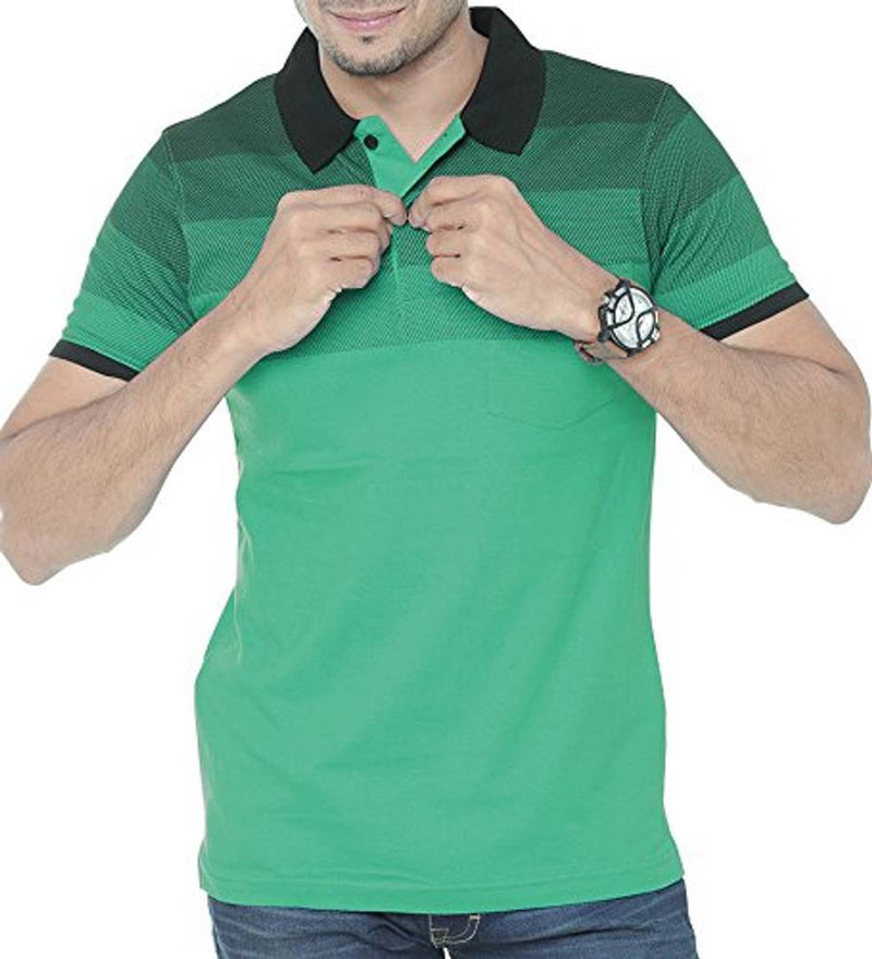 Men Green Cotton Printed Polos T-Shirts