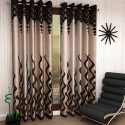 Brown Eyelet Polyester Curtain Window Length (Set of 2 Pcs) 60