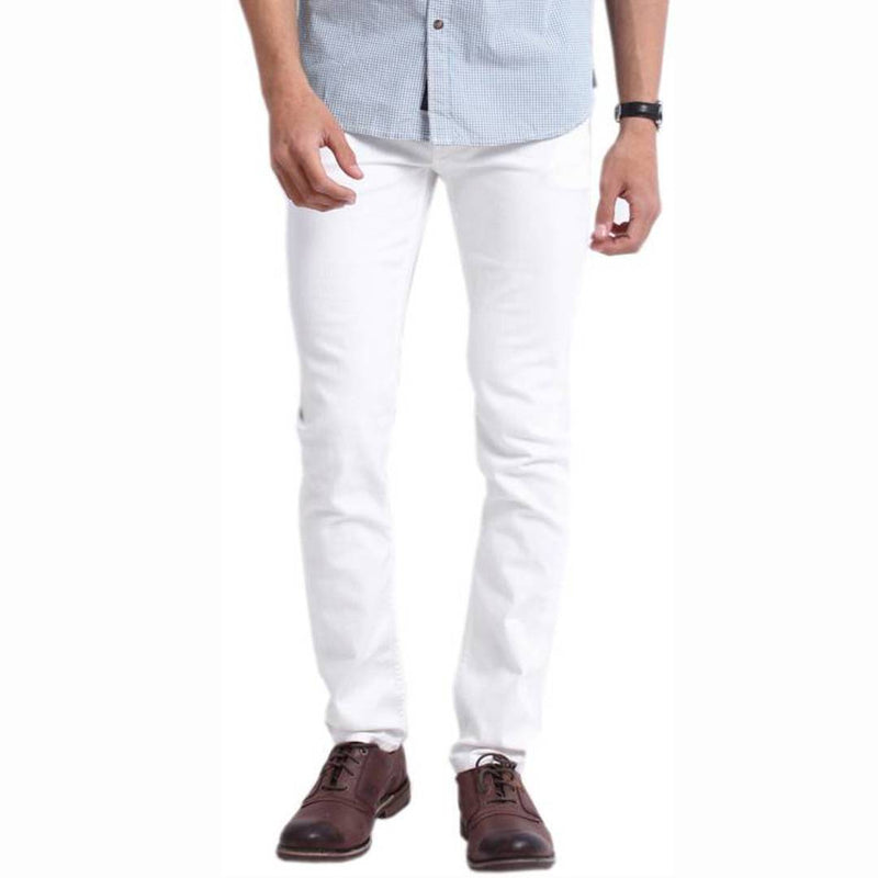 White Cotton Spandex Trendy Slim Fit Mid-Rise Jeans