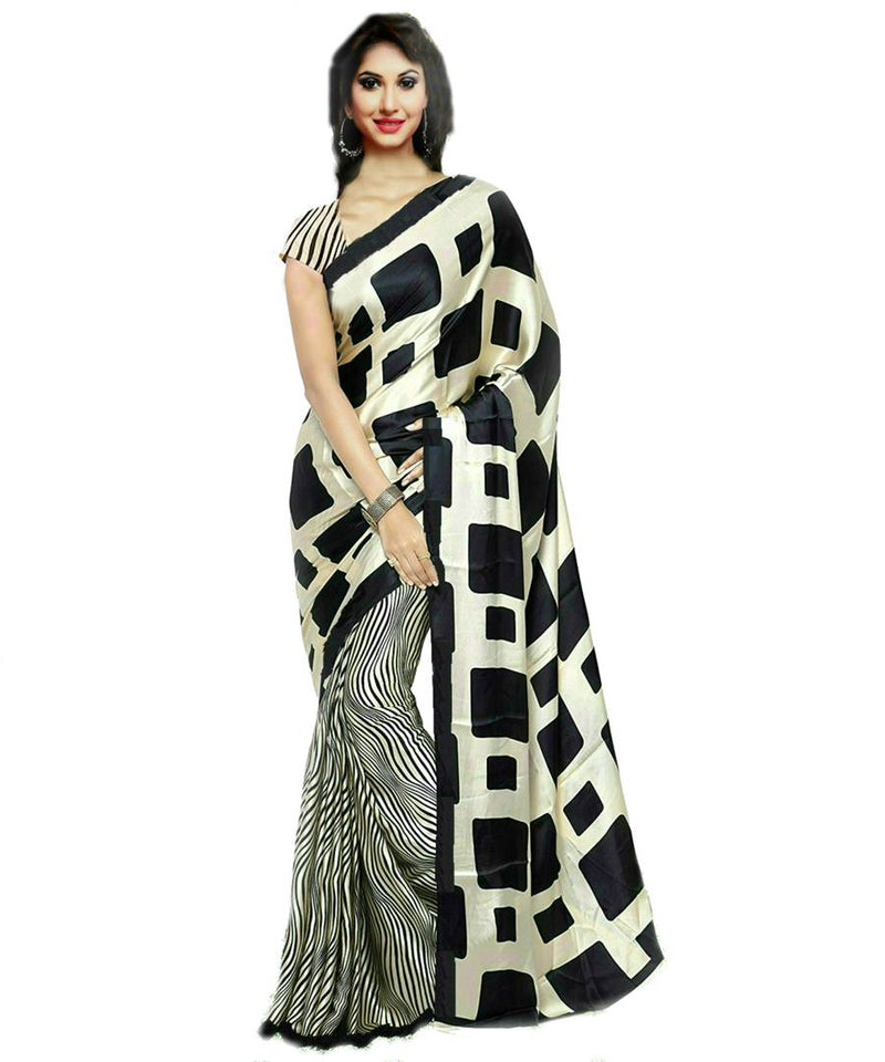 Stylish Black Crepe Printed Saree With Blouse Piece
