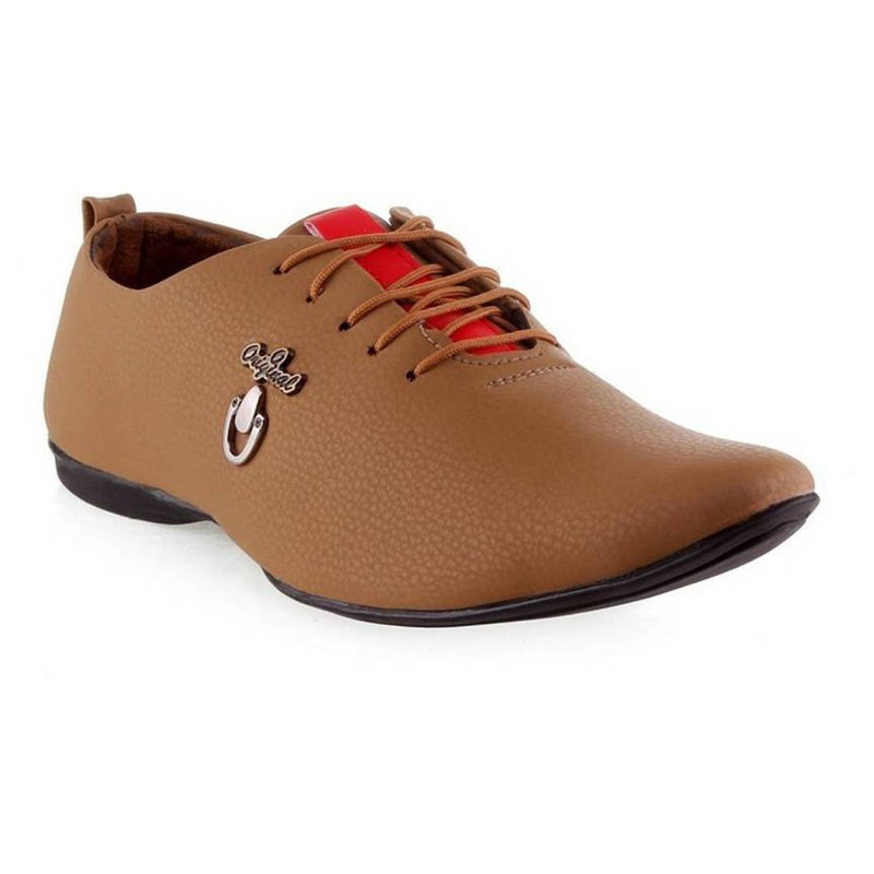 Tan Partywear Synthetic Leather Casual Shoes for Men