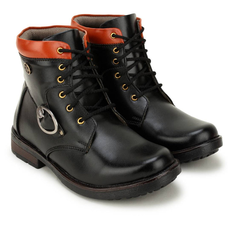 High Ankle Lace Up Synthetic Leather Casual Boots For Men
