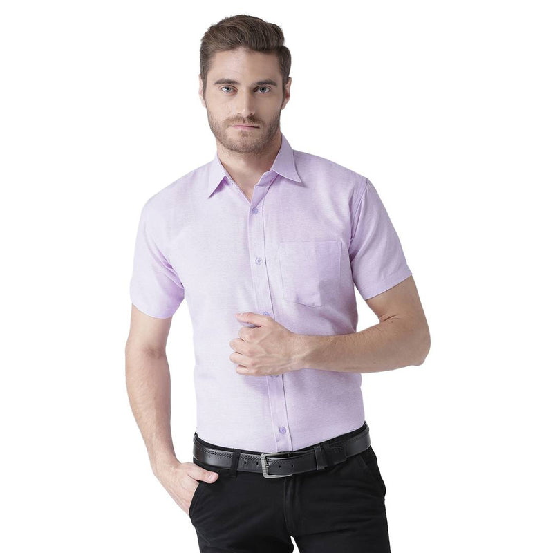 Men Light Purple Linen Short Sleeves Casual Shirt