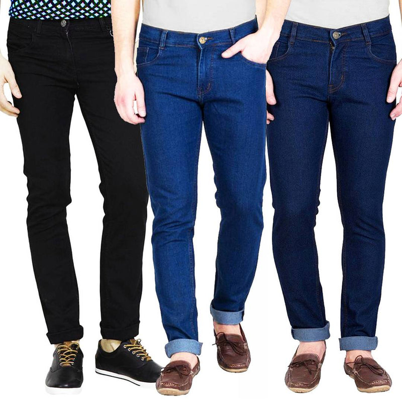 Multicoloured Slim Fit Trendy Jeans Pack Of 3