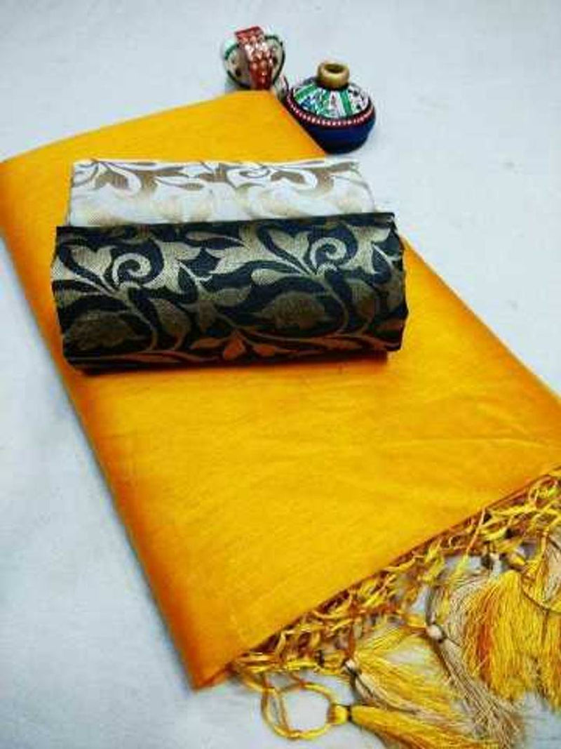 Stylish Yellow Chanderi Cotton Solid Saree With Blouse Piece ( Blouse Piece Combo )
