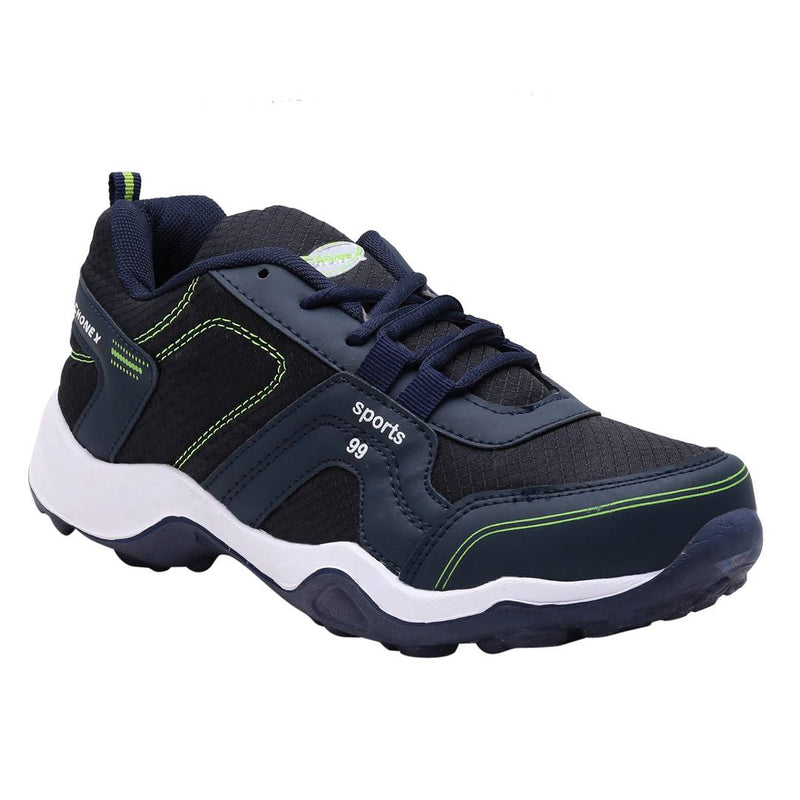 Navy Blue Parrot Green Lace Up Running Shoes