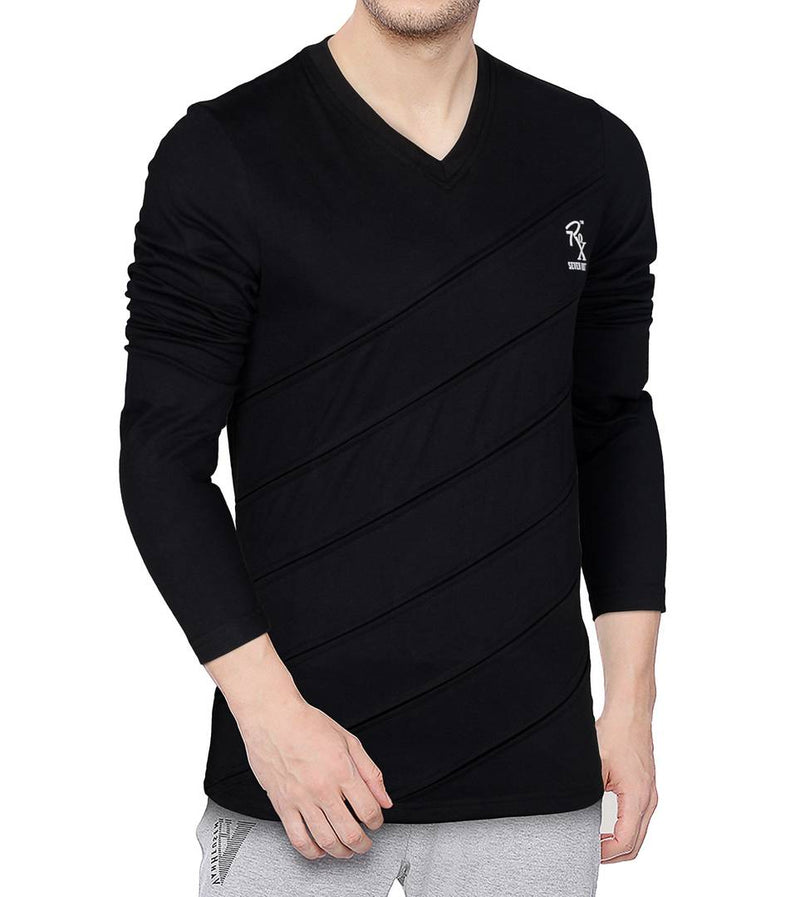 Seven Rocks Black Solid V Neck Tees