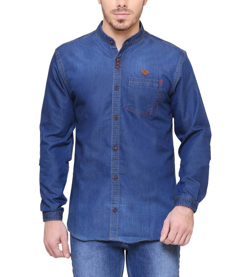Kuons Avenue Navy Blue Cotton Mandarin Collar Denim Shirt for Men