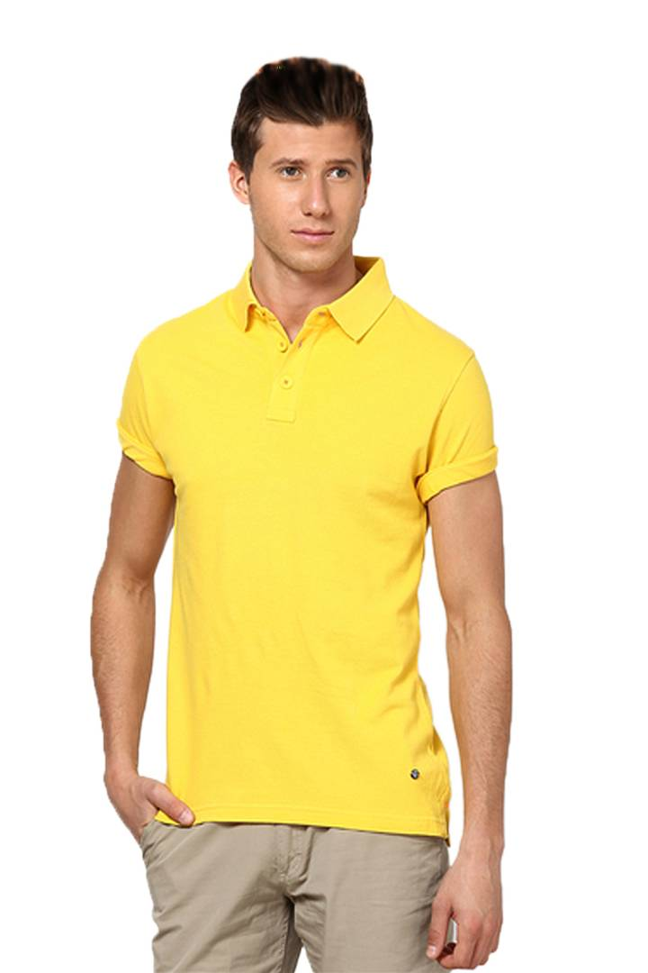 Men Yellow Cotton Blend Half Sleeves Polos T-Shirt