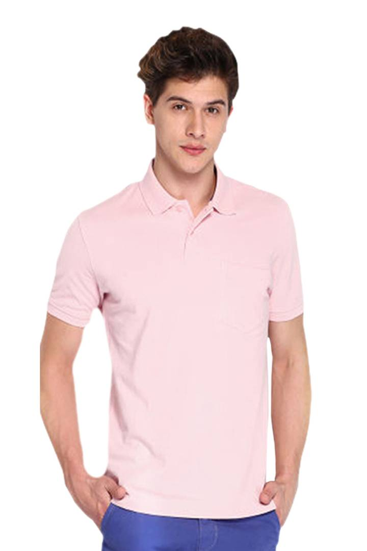 Men Pink Cotton Blend Half Sleeves Polos T-Shirt