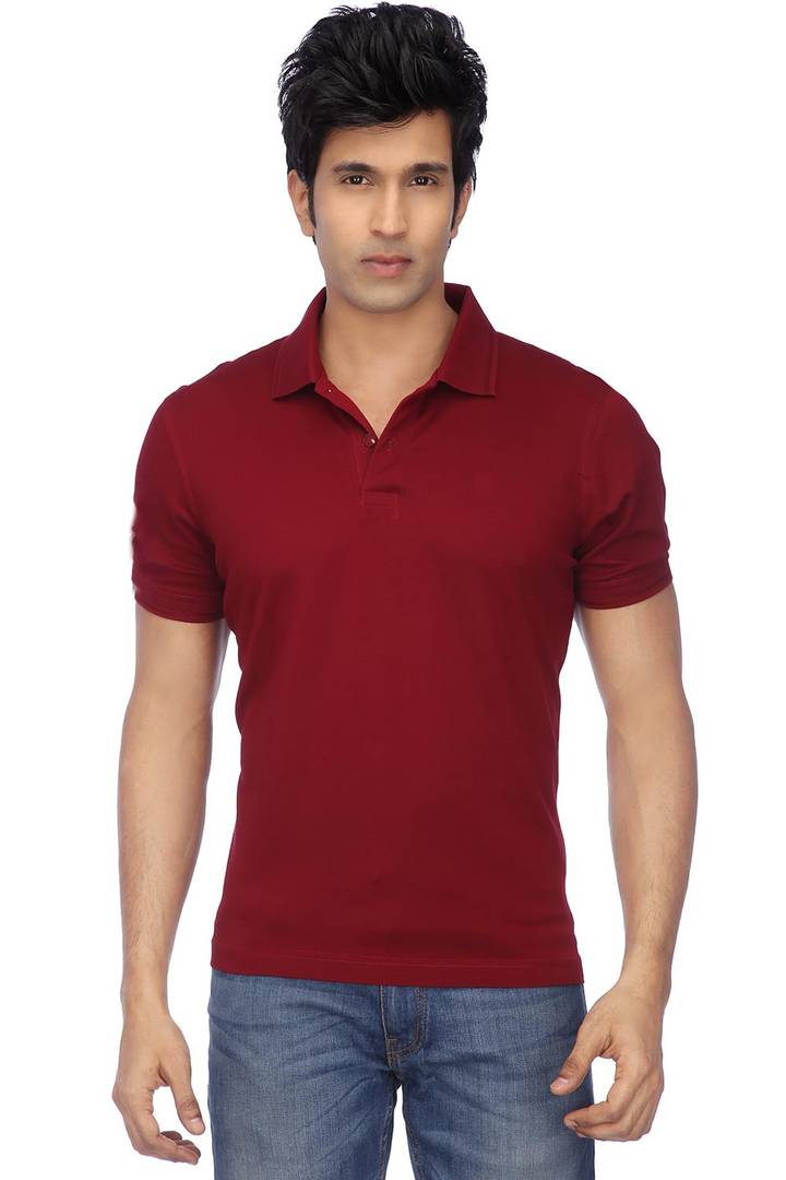 Men Maroon Cotton Blend Half Sleeves Polos T-Shirt