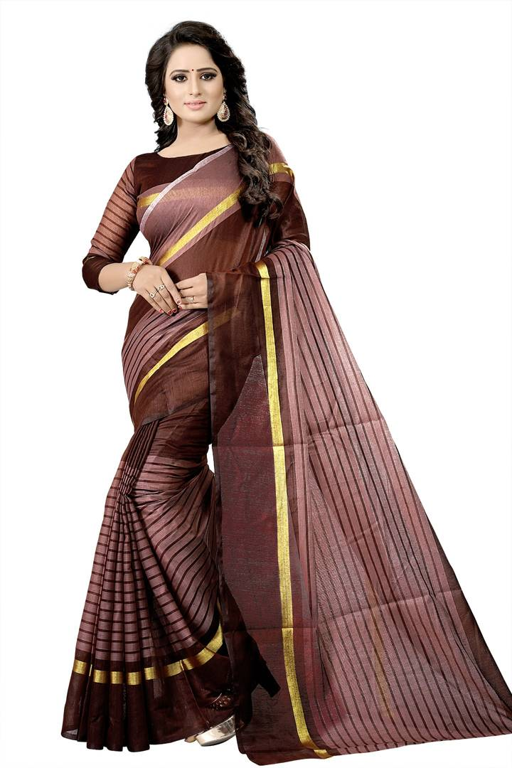 Brown Striped Cotton Silk Saree with Blouse