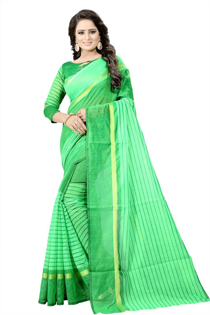 Green Striped Cotton Silk Saree with Blouse