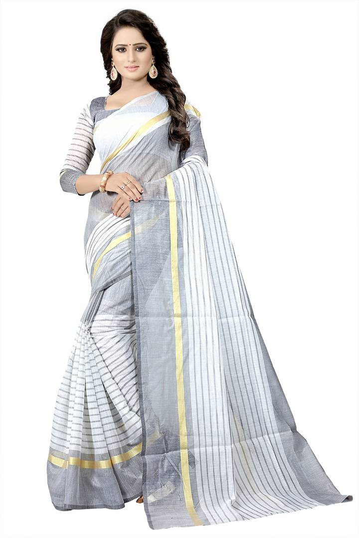 White Striped Cotton Silk Saree with Blouse