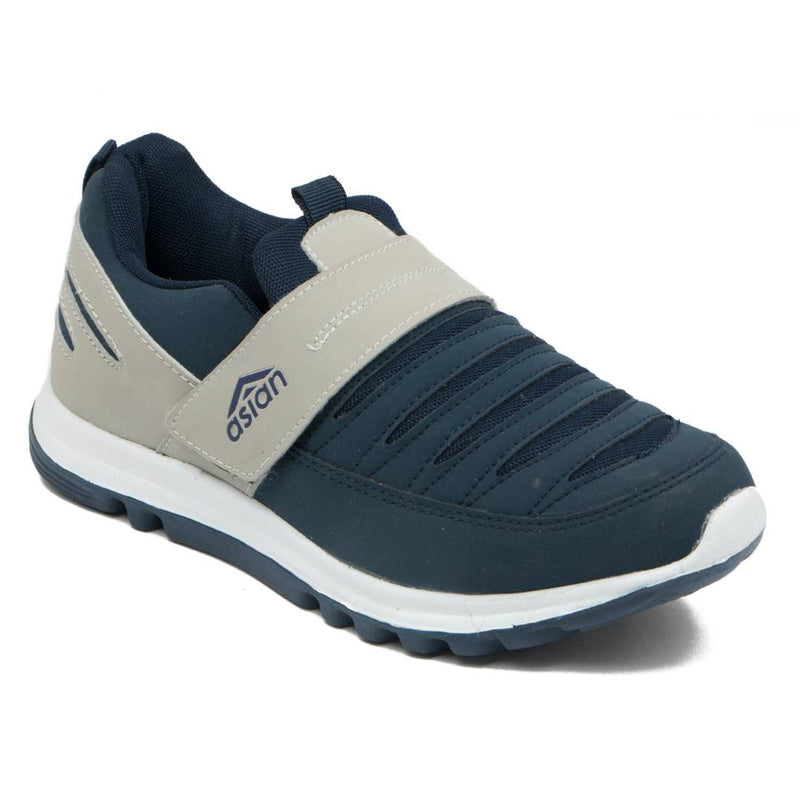 Men's Navy Blue Self Design Mesh Running Shoes