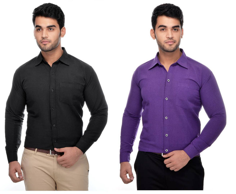 Khadi Solid Long Sleeve Formal Shirt Combo