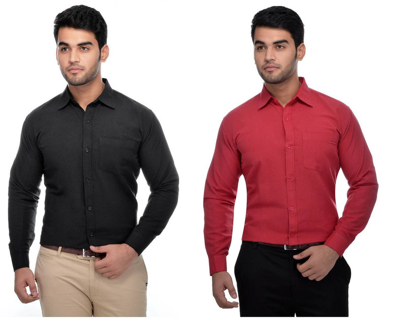 Multicoloured Khadi Solid Long Sleeve Formal Shirt (Combo of 2)