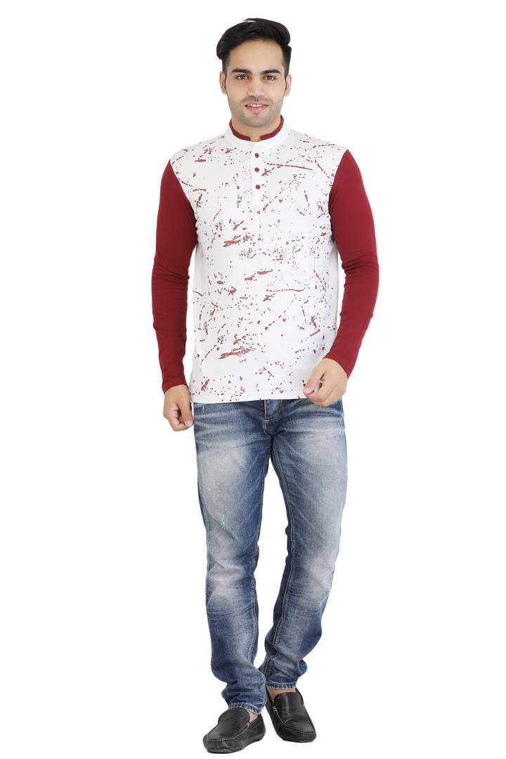 Men White Printed Cotton Mandarin Tees