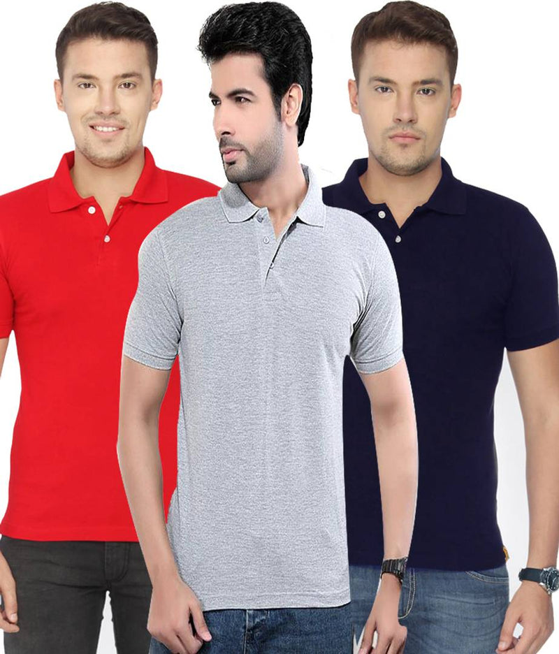 Men Multicoloured Cotton Blend Solid Polos (Pack of 3)